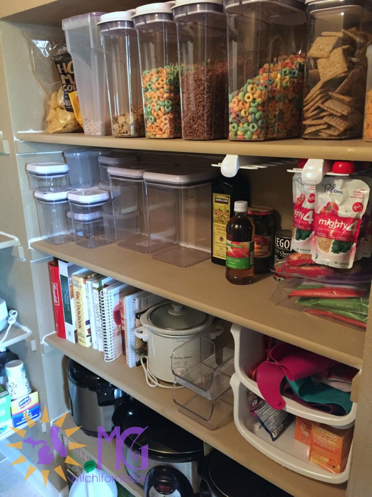 food in an organized pantry