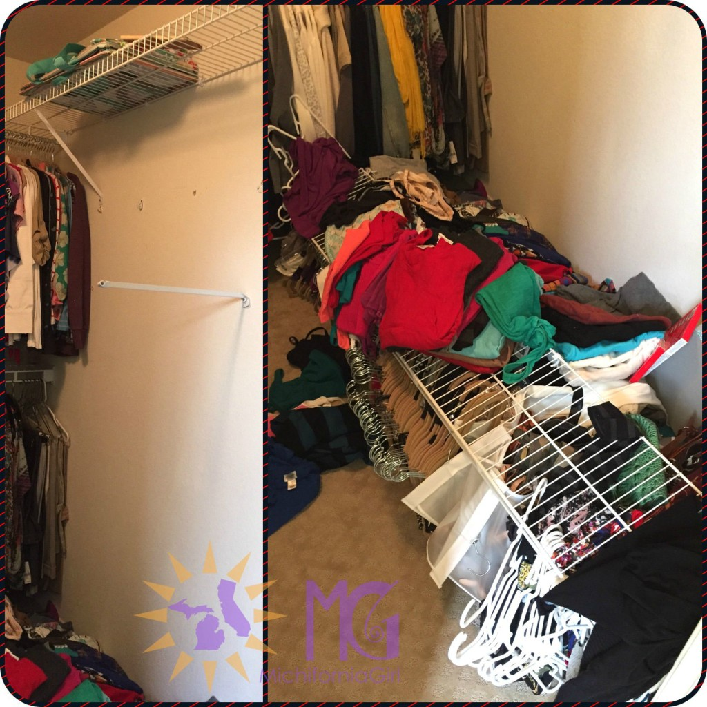 things falls apart: fallen closet shelves with a mess of clothes on the floor