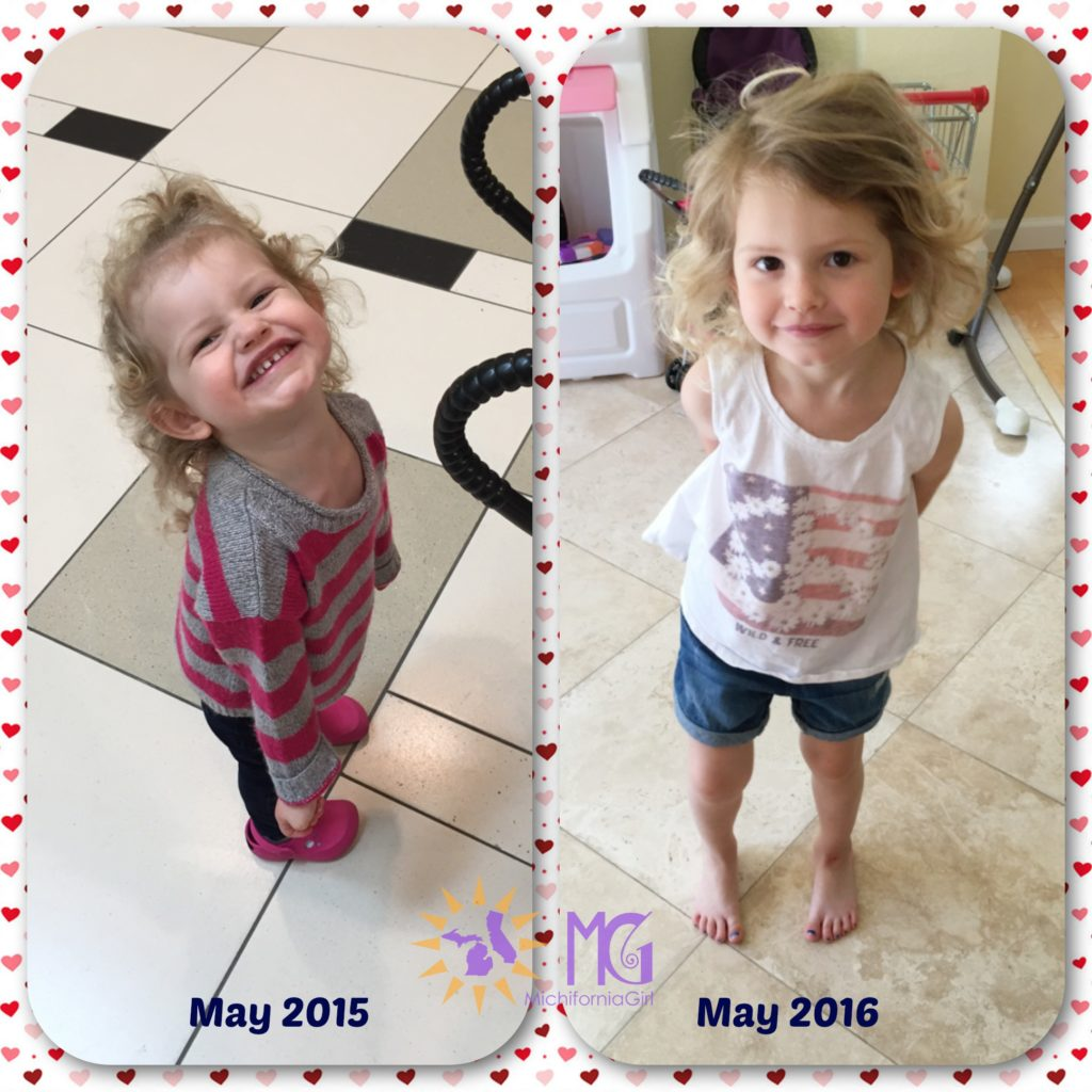 2-year-old and 3-year-old girl comparison one year in california