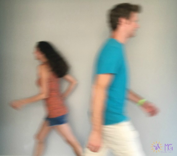 love your spouse challenge man and woman blur as they run past each other