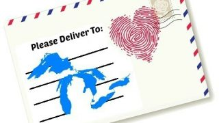 postcard envelope with fingerprint heart stamp love letter to michigan