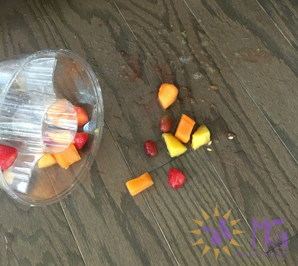 spilled fruit on floor bad day