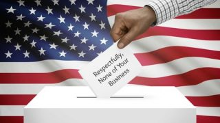 hand voting secret ballot respectfully none of your business election results with American flag in background