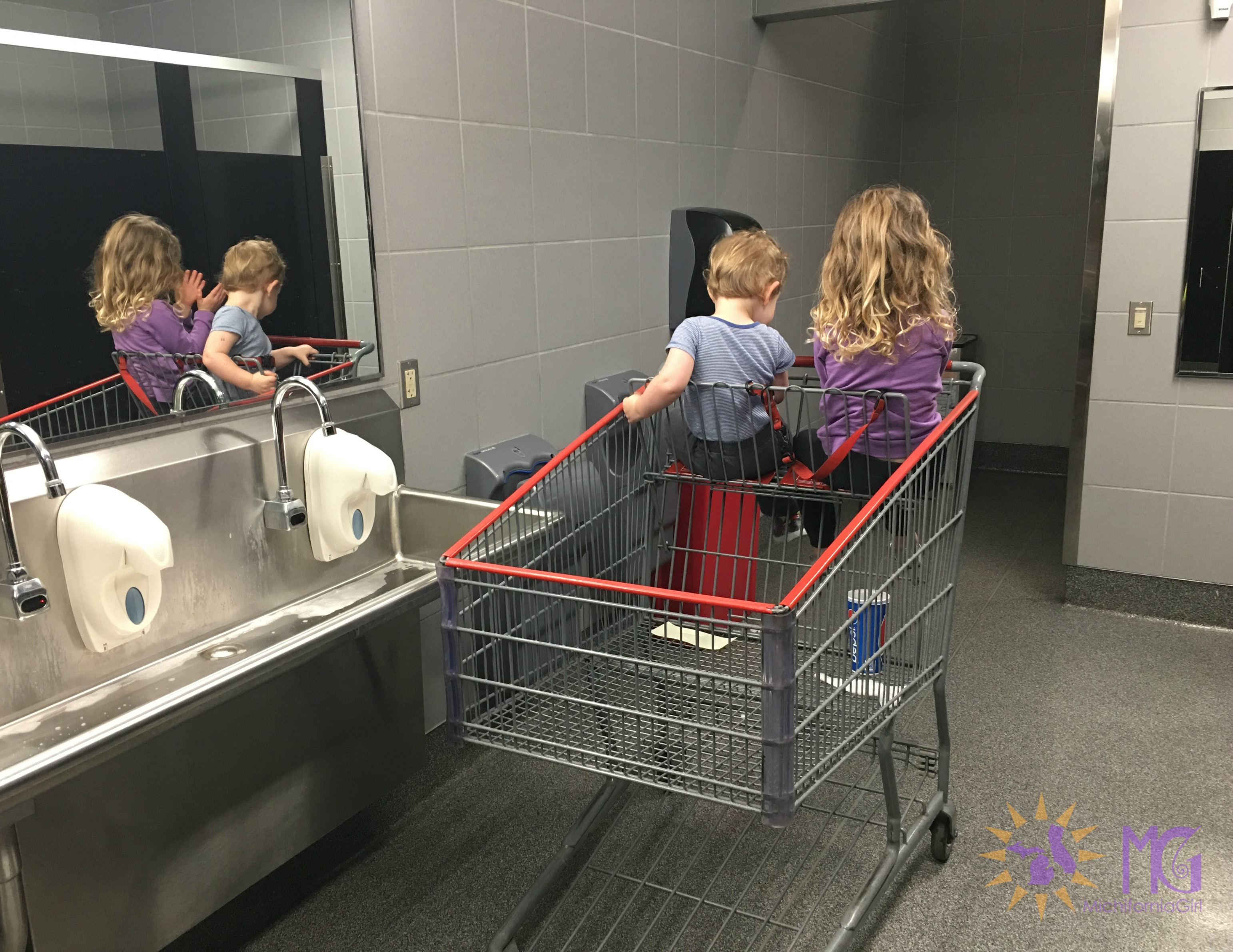 two kids in a cart in a costco bathroom in the way