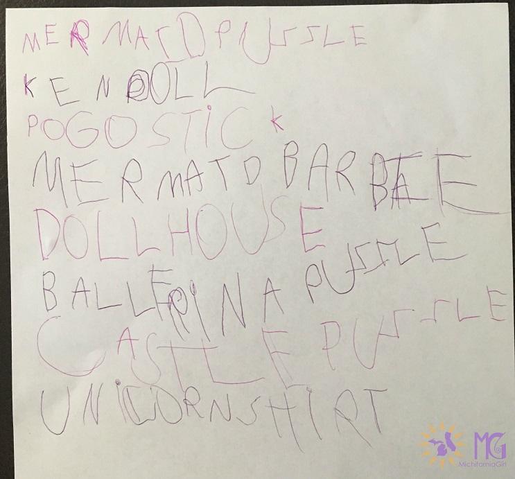 child's Christmas list